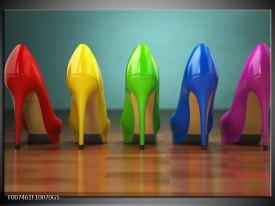 Glas Schilderij Schoenen, Vrouw | Bruin, Groen, Geel