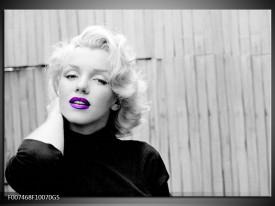 Glas Schilderij Marilyn Monroe, Muziek | Grijs, Paars, Zwart