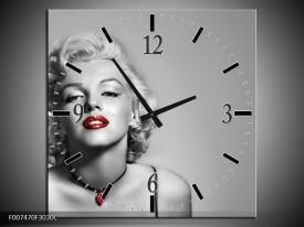 Wandklok Schilderij Marilyn Monroe, Muziek | Grijs, Zwart, Rood