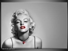 Glas Schilderij Marilyn Monroe, Muziek | Grijs, Zwart, Rood