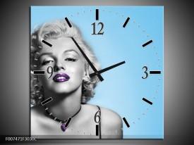 Wandklok Schilderij Marilyn Monroe, Muziek | Grijs, Blauw, Paars