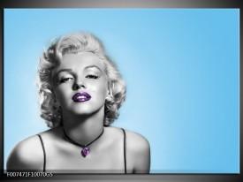 Glas Schilderij Marilyn Monroe, Muziek | Grijs, Blauw, Paars