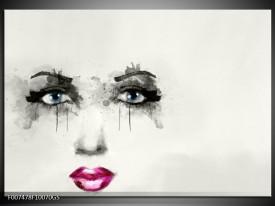 Glas Schilderij Gezicht, Vrouw | Zwart, Roze, Crème