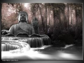 Glas Schilderij Boeddha, Natuur | Grijs, Bruin