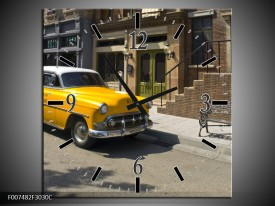 Wandklok Schilderij Oldtimer, Auto | Geel, Bruin