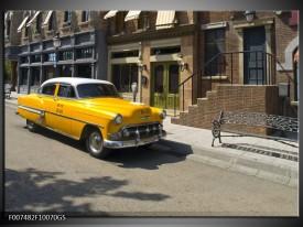 Glas Schilderij Oldtimer, Auto | Geel, Bruin