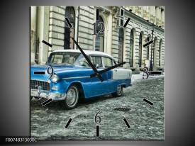 Wandklok Schilderij Oldtimer, Auto   Blauw, Groen, Grijs