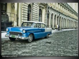 Glas Schilderij Oldtimer, Auto   Blauw, Groen, Grijs