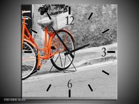 Wandklok Schilderij Fiets | Oranje, Zwart, Wit