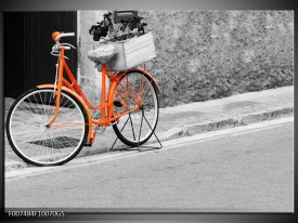 Glas Schilderij Fiets | Oranje, Zwart, Wit