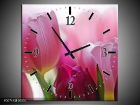 Wandklok Schilderij Tulpen, Bloemen | Roze, Paars