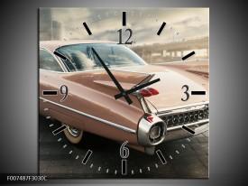Wandklok Schilderij Oldtimer, Auto | Bruin, Grijs