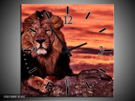 Wandklok Schilderij Wilde Dieren | Oranje, Bruin