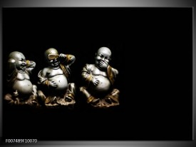 Canvas Schilderij Boeddha, Beeld | Zwart, Grijs