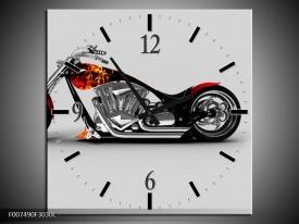 Wandklok Schilderij Motor | Grijs, Zwart, Oranje
