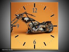 Wandklok Schilderij Motor | Bruin, Geel, Oranje