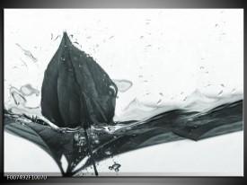 Canvas Schilderij Bloem   Grijs, Wit
