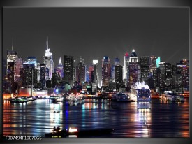 Glas Schilderij Skyline, Steden | Grijs, Zwart, Paars