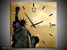 Wandklok Schilderij Vrijheidsbeeld, New York | Grijs, Geel, Bruin
