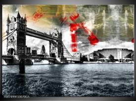Glas Schilderij Brug, Engeland | Grijs, Zwart, Wit