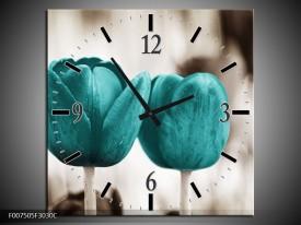 Wandklok Schilderij Tulpen, Bloemen | Turquoise, Sepia
