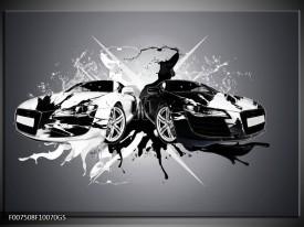 Glas Schilderij Audi, Auto   Zwart, Wit, Grijs