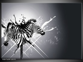 Canvas Schilderij Modern, Zebra | Zwart, Wit, Grijs