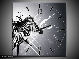Wandklok Schilderij Modern, Zebra | Zwart, Wit, Grijs