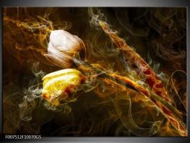 Glas Schilderij Tulpen, Bloemen | Bruin, Goud, Geel