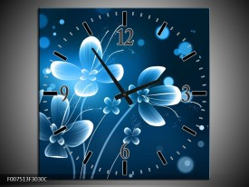 Wandklok Schilderij Bloemen, Modern   Blauw, Wit