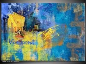 Glas Schilderij Van Gogh, Modern | Blauw, Geel