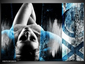 Canvas Schilderij Vrouw, Kunst | Grijs, Blauw