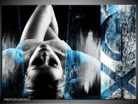 Glas Schilderij Vrouw, Kunst | Grijs, Blauw