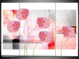 Canvas Schilderij Modern, Bloemen   Grijs, Roze