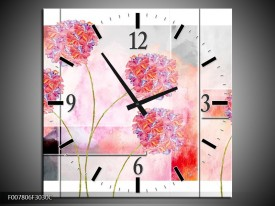 Wandklok Schilderij Modern, Bloemen | Grijs, Roze