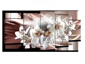 Glasschilderij Orchidee, Bloemen | Grijs, Bruin | 150x70cm 5Luik