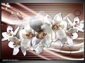 Glas Schilderij Orchidee, Bloemen | Grijs, Bruin