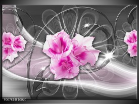 Canvas Schilderij Modern, Bloemen | Grijs, Roze