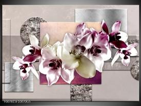 Glas Schilderij Orchidee, Bloemen | Paars, Grijs