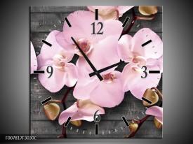 Wandklok Schilderij Orchidee, Bloemen | Grijs, Roze