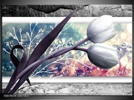 Glas Schilderij Bloemen, Tulpen | Grijs