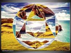 Canvas Schilderij Design   Geel, Turquoise, Bruin