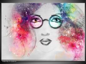 Canvas Schilderij Vrouw | Grijs, Roze