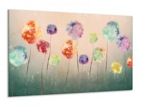 Canvas Schilderij Bloemen   Groen, Crème   120x70cm 1Luik