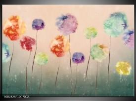 Glas Schilderij Bloemen | Groen, Crème