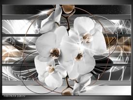 Canvas Schilderij Orchidee, Bloemen | Zilver, Wit