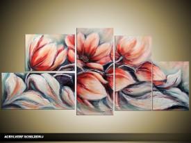 Acryl Schilderij Magnolia | Rood, Grijs | 150x70cm 5Luik Handgeschilderd