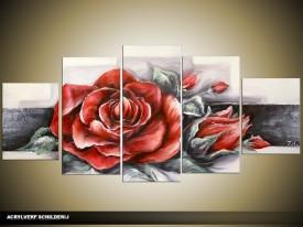 Acryl Schilderij Roos   Rood, Grijs   150x70cm 5Luik Handgeschilderd
