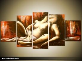 Acryl Schilderij Slaapkamer | Bruin, Rood, Crème | 150x70cm 5Luik Handgeschilderd