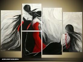 Acryl Schilderij Modern   Rood, Zwart, Grijs   150x70cm 5Luik Handgeschilderd